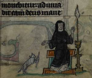 Nun spinning with cat_The Maastricht Hours_early 14thC